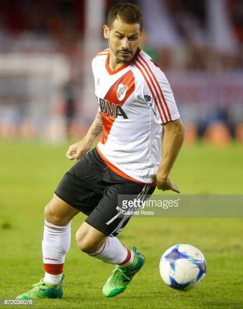 Rodrigo Mora of River Plate drives the ball during a match between River Plate and Sarmiento as part of Torneo Primera Division 2016/17 at Monumental...