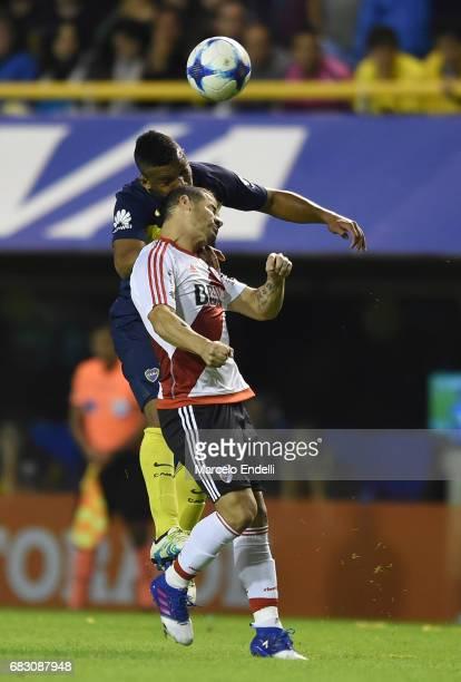 Rodrigo Mora of River Plate fights for ball with Frank Fabra of Boca Juniors during a match between Boca Juniors and River Plate as part of Torneo...
