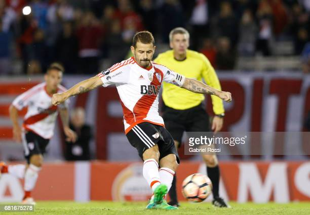 Rodrigo Mora of River Plate kicks the penalty during a group stage match between River Plate and Emelec as part of Copa CONMEBOL Libertadores...