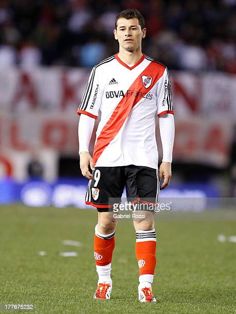 Rodrigo Mora of River Plate looks on during a match between River Plate and Colon de Santa Fe as part of the Torneo Inicial 2013 at Monumental...