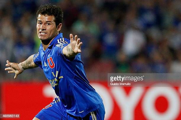Rodrigo Mora of Universidad de Chile celebrates after scoring during a match between U de Chile and Deportivo Guarani as part of the Copa...