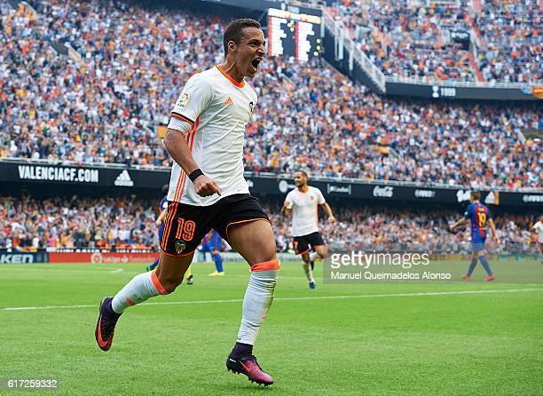 Rodrigo Moreno of Valencia celebrates after scoring his team's second goal during the La Liga match between Valencia CF and FC Barcelona at Mestalla...