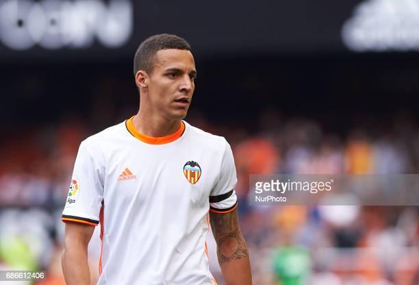 Rodrigo Moreno of Valencia CF looks on during their La Liga match between Valencia CF and Villarreal CF at the Mestalla Stadium on 21th May 2017 in...