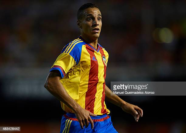 Rodrigo Moreno of Valencia looks on during the preseason friendly match between Valencia CF and AS Roma at Estadio Mestalla on August 8 2015 in...