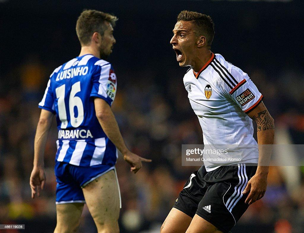 Rodrigo Moreno of Valencia reacts during the La Liga match between Valencia CF and RC Deportivo de La Coruna at Estadi de Mestalla on March 13, 2015 in Valencia, Spain.