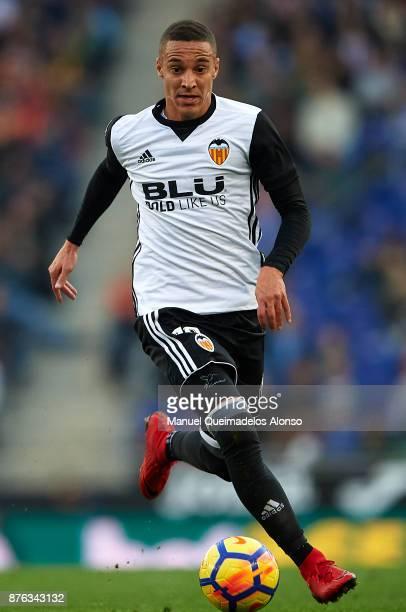 Rodrigo Moreno of Valencia runs with the ball during the La Liga match between Espanyol and Valencia at CornellaEl Prat stadium on November 19 2017...