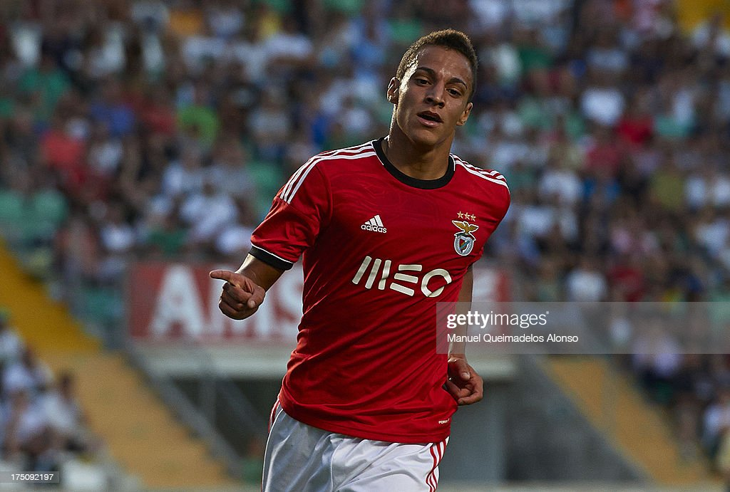 Rodrigo of Benfica celebrates after scoring the second goal during a friendly match between Elche CF and Benfica at Estadio Martinez Valero on July 31, 2013 in Elche, Spain.