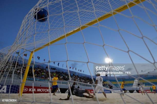 Rodrigo of Brazil shoots and scores a goal during the FIFA Beach Soccer World Cup Bahamas 2017 group D match between Braziland Japan at National...