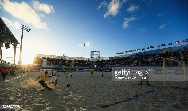 Rodrigo of Brazil takes a shot on goal during the FIFA Beach Soccer World Cup Bahamas 2017 group D match between Braziland Japan at the National...