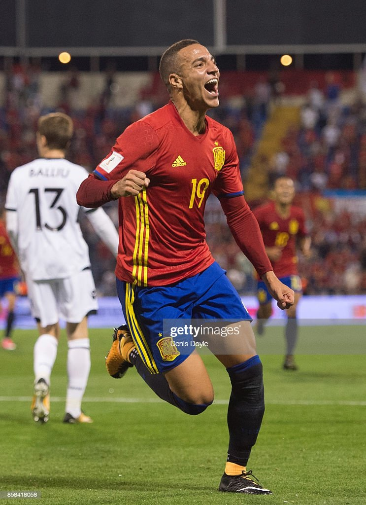 Rodrigo of Spain celebrates after scoring Spain opening goal during the FIFA 2018 World Cup Qualifier between Spain and Albania at Estadio Jose Rico Perez on October 6, 2017 in Alicante, Spain.