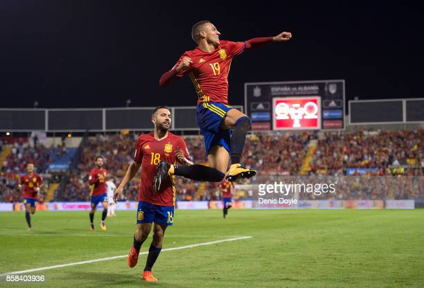 Rodrigo of Spain celebrates after scoring the opening goal during the FIFA 2018 World Cup Qualifier between Spain and Albania at Estadio Jose Rico...