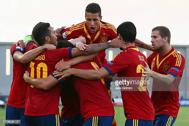 Rodrigo of Spain celebrates his team's first goal with team mates during the UEFA European U21 Championship Semi Final match between Spain and Norway...