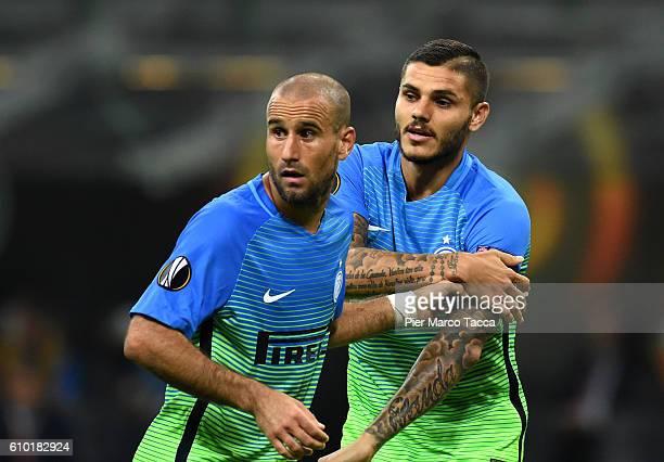 Rodrigo Palacio and Mauro Icardi of FC Internazionale look during the UEFA Europa League match between FC Internazionale Milano and Hapoel BeerSheva...