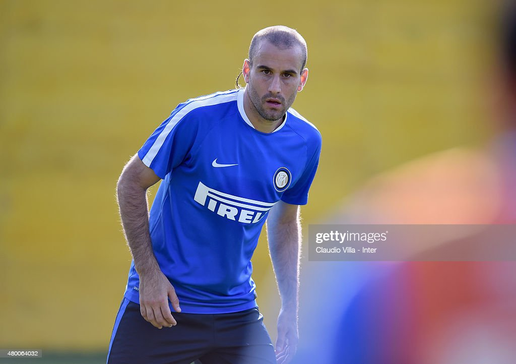 Rodrigo Palacio looks on during FC Internazionale training session at Riscone di Brunico on July 9, 2015 in Bruneck, Italy.