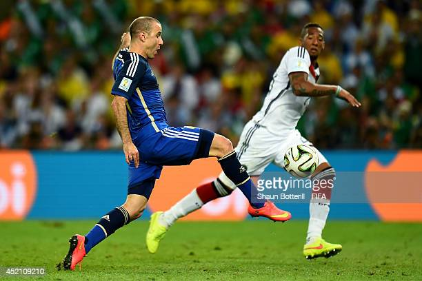 Rodrigo Palacio of Argentina chips the ball on to the goal during the 2014 FIFA World Cup Brazil Final match between Germany and Argentina at...