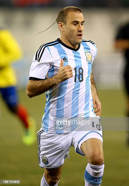 Rodrigo Palacio of Argentina competes against Ecuador during a friendly match at MetLife Stadium on November 15 2013 in East Rutherford New Jersey...