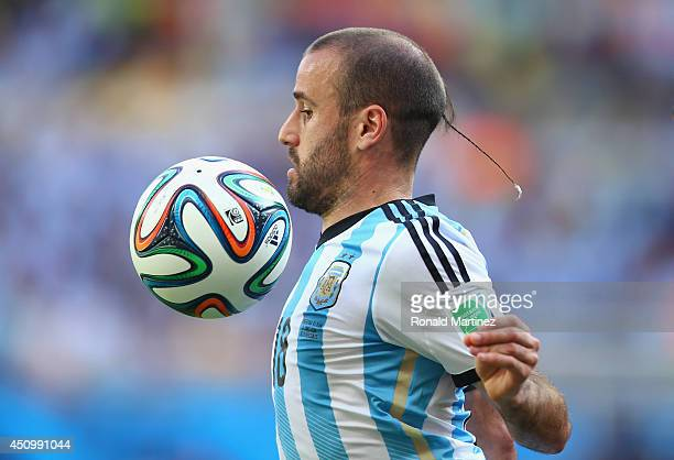 Rodrigo Palacio of Argentina controls the ball during the 2014 FIFA World Cup Brazil Group F match between Argentina and Iran at Estadio Mineirao on...