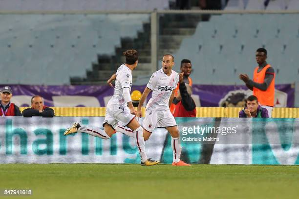 Rodrigo Palacio of Bologna FC celebrates after scoring a goal during the Serie A match between ACF Fiorentina and Bologna FC at Stadio Artemio...