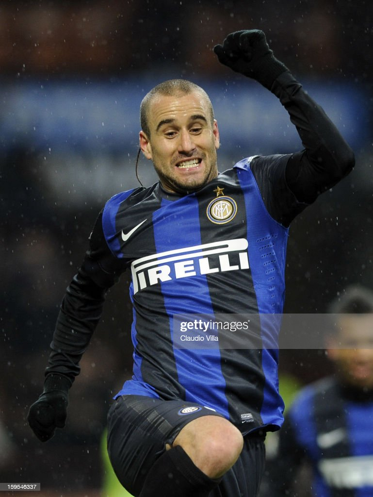 <a gi-track='captionPersonalityLinkClicked' href=/galleries/search?phrase=Rodrigo+Palacio&family=editorial&specificpeople=490993 ng-click='$event.stopPropagation()'>Rodrigo Palacio</a> of FC Inter celebrates scoring the second goal during the TIM cup match between FC Internazionale Milano and Bologna FC at Stadio Giuseppe Meazza on January 15, 2013 in Milan, Italy.