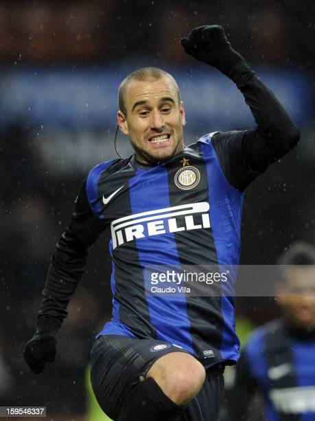 Rodrigo Palacio of FC Inter celebrates scoring the second goal during the TIM cup match between FC Internazionale Milano and Bologna FC at Stadio...