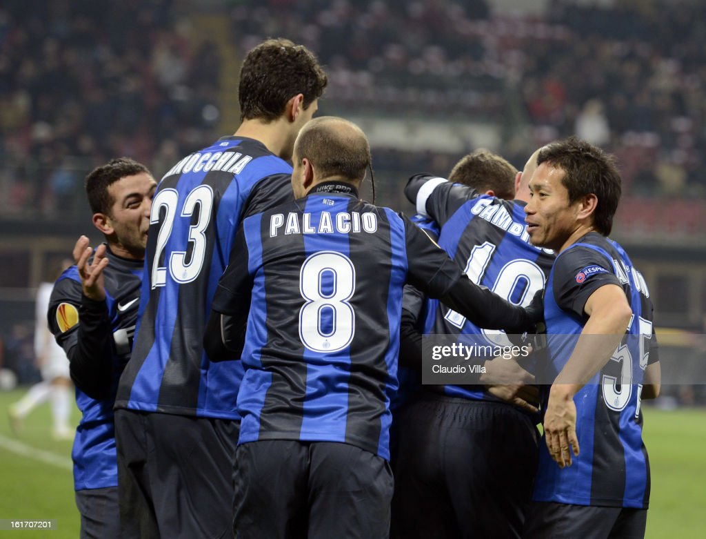<a gi-track='captionPersonalityLinkClicked' href=/galleries/search?phrase=Rodrigo+Palacio&family=editorial&specificpeople=490993 ng-click='$event.stopPropagation()'>Rodrigo Palacio</a> of FC Inter #8 celebrates scoring the second goal during the UEFA Europa League round of 32 match between FC Internazionale Milano and CFR 1907 Cluj at San Siro Stadium on February 14, 2013 in Milan, Italy.