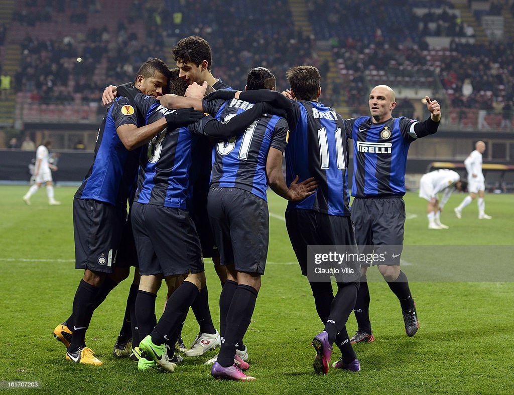Rodrigo Palacio of FC Inter (C) celebrates scoring the second goal during the UEFA Europa League round of 32 match between FC Internazionale Milano and CFR 1907 Cluj at San Siro Stadium on February 14, 2013 in Milan, Italy.