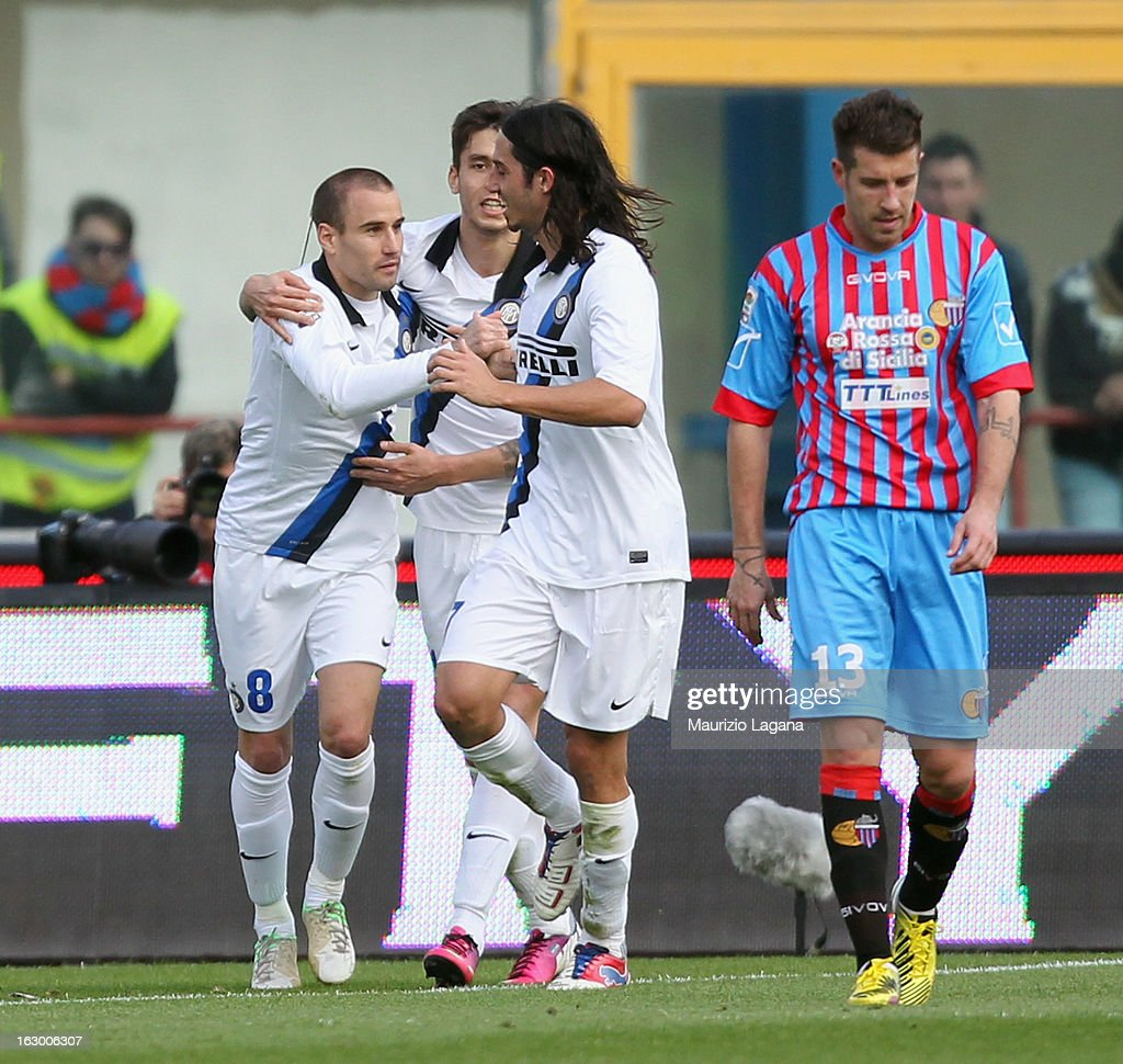 Rodrigo Palacio of FC Internazionale celebrates after scoring the equalizing goal (2:2) during the Serie A match between Calcio Catania and FC Internazionale Milano at Stadio Angelo Massimino on March 3, 2013 in Catania, Italy.