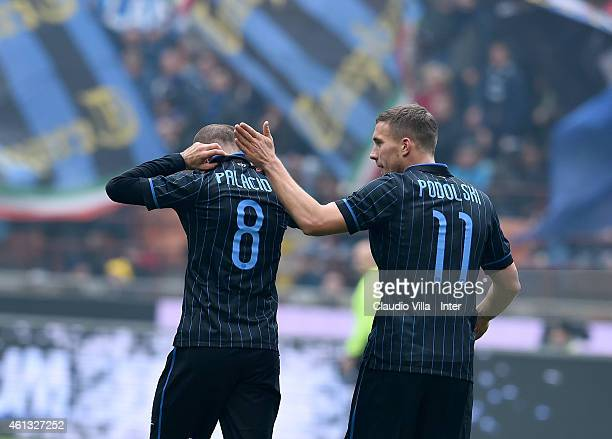 Rodrigo Palacio of FC Internazionale celebrates after scoring the first goal during the Serie A match between FC Internazionale Milano and Genoa CFC...