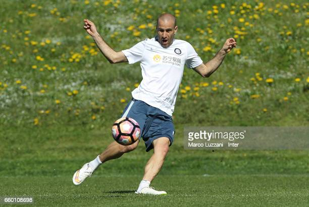 Rodrigo Palacio of FC Internazionale in action during the FC Internazionale training session at the club's training ground Suning Training Center in...