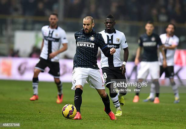 Rodrigo Palacio of FC Internazionale in action during the Serie A match between Parma FC and FC Internazionale Milano at Stadio Ennio Tardini on...