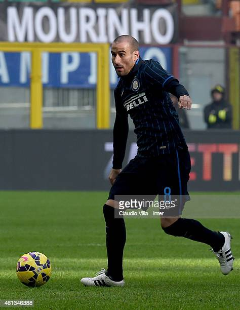 Rodrigo Palacio of FC Internazionale in action during the Serie A match between FC Internazionale Milano and Genoa CFC at Stadio Giuseppe Meazza on...