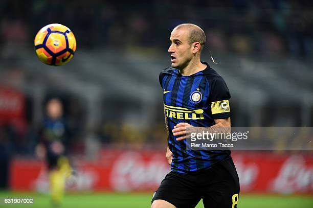 Rodrigo Palacio of FC Internazionale in action during the TIM Cup match between FC Internazionale and Bologna FC at Stadio Giuseppe Meazza on January...