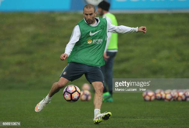 Rodrigo Palacio of FC Internazionale kicks a ball during the FC Internazionale training session at the club's training ground Suning Training Center...