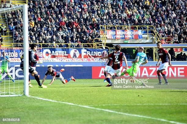 Rodrigo Palacio of FC Internazionale kicks towards the goal during the Serie A match between Bologna FC and FC Internazionale at Stadio Renato...