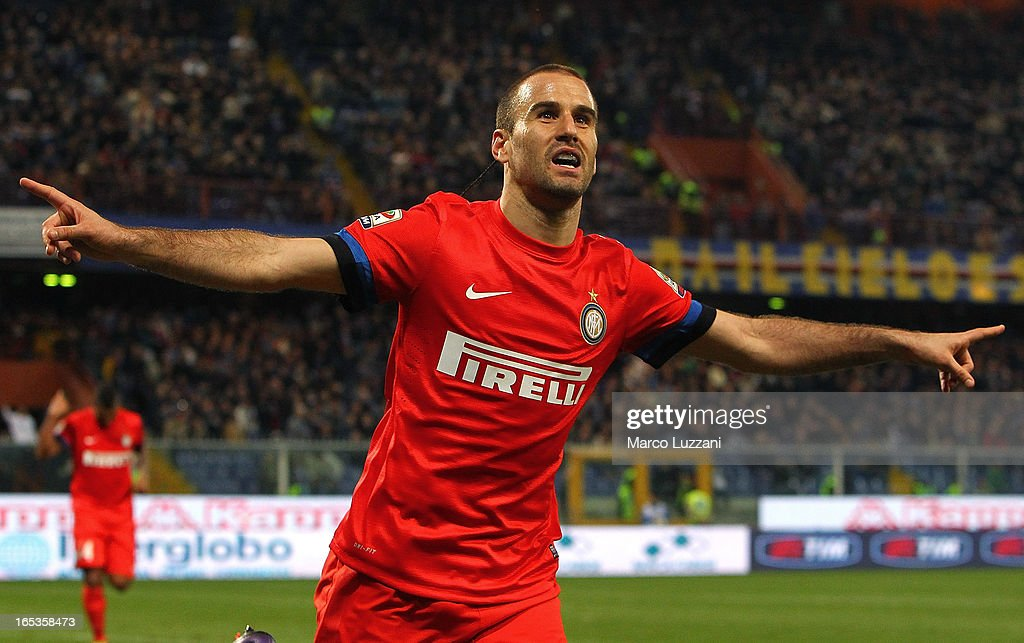 <a gi-track='captionPersonalityLinkClicked' href=/galleries/search?phrase=Rodrigo+Palacio&family=editorial&specificpeople=490993 ng-click='$event.stopPropagation()'>Rodrigo Palacio</a> of FC Internazionale Milano celebrates after scoring his second goal during the Serie A match between UC Sampdoria and FC Internazionale Milano at Stadio Luigi Ferraris on April 3, 2013 in Genoa, Italy.