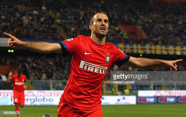 Rodrigo Palacio of FC Internazionale Milano celebrates after scoring his second goal during the Serie A match between UC Sampdoria and FC...