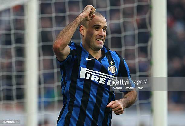 Rodrigo Palacio of FC Internazionale Milano celebrates after scoring the opening goal during the Serie A match between FC Internazionale Milano and...