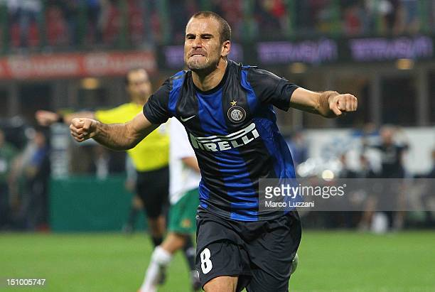 Rodrigo Palacio of FC Internazionale Milano celebrates his equalising goal during the UEFA Europa League playoff round second leg match between FC...