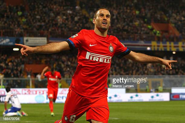 Rodrigo Palacio of FC Internazionale Milano celebrates his second goal during the Serie A match between UC Sampdoria and FC Internazionale Milano at...