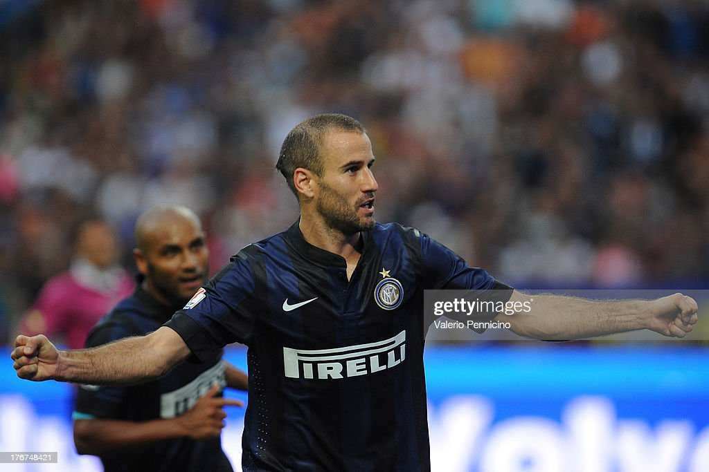 <a gi-track='captionPersonalityLinkClicked' href=/galleries/search?phrase=Rodrigo+Palacio&family=editorial&specificpeople=490993 ng-click='$event.stopPropagation()'>Rodrigo Palacio</a> of FC Internazionale Milano celebrates his second goal during the TIM cup match between FC Internazionale Milano and AS Cittadella at Stadio Giuseppe Meazza on August 18, 2013 in Milan, Italy.