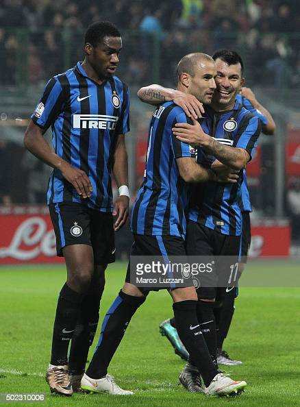 Rodrigo Palacio of FC Internazionale Milano celebrates with his teammates Gary Alexis Medel and Geoffrey Kondogbia after scoring the opening goal...