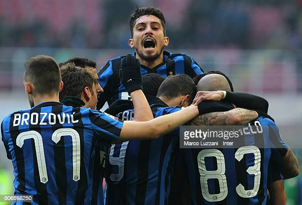 Rodrigo Palacio of FC Internazionale Milano celebrates with his teammates after scoring the opening goal during the Serie A match between FC...
