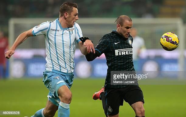 Rodrigo Palacio of FC Internazionale Milano competes for the ball with Stefan de Vrij of SS Lazio during the Serie A match betweeen FC Internazionale...