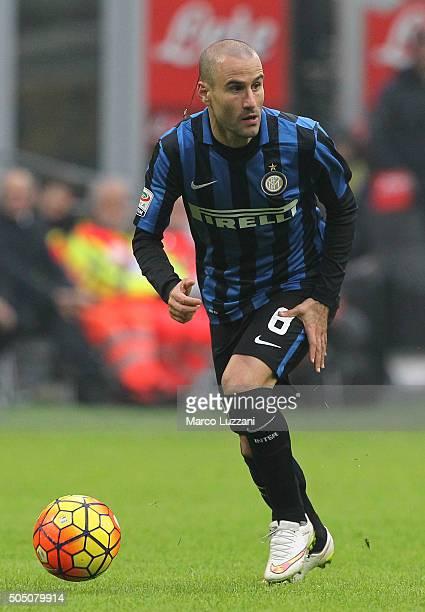 Rodrigo Palacio of FC Internazionale Milano in action during the Serie A match between FC Internazionale Milano and US Sassuolo Calcio at Stadio...