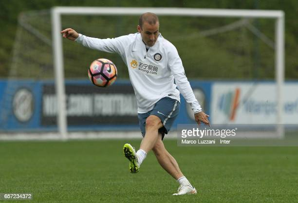 Rodrigo Palacio of FC Internazionale Milano kicks a ball during the FC Internazionale training session at the club's training ground Suning Training...