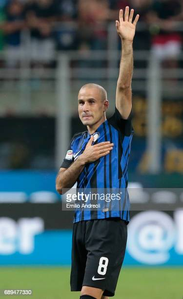 Rodrigo Palacio of FC Internazionale Milano salutes the fans at the end of the Serie A match between FC Internazionale and Udinese Calcio at Stadio...