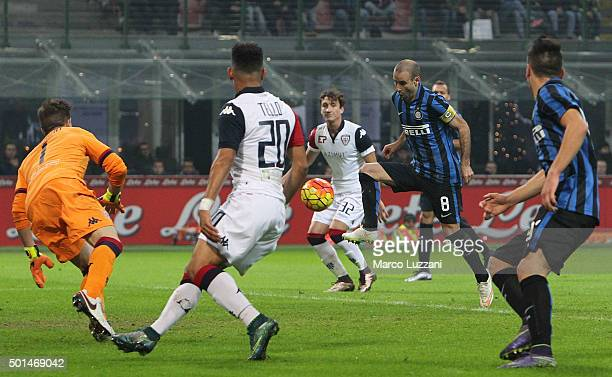 Rodrigo Palacio of FC Internazionale Milano scores the opening goal during the TIM Cup match between FC Internazionale Milano and Cagliari Calcio at...