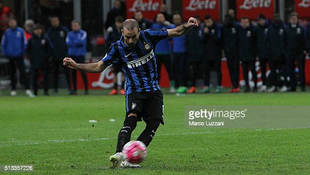 Rodrigo Palacio of FC Internazionale Milano shoots and misses a penalty during the TIM Cup match between FC Internazionale Milano and Juventus FC at...