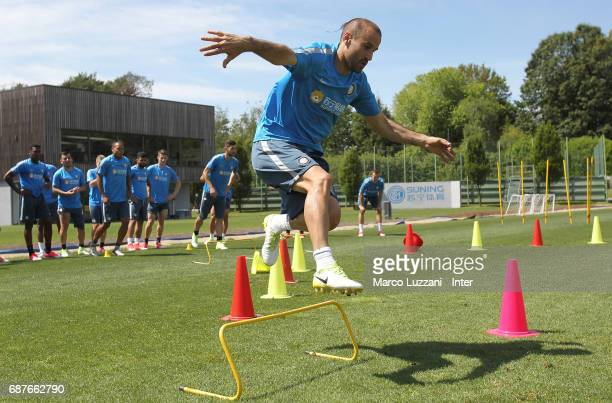 Rodrigo Palacio of FC Internazionale trains during the FC Internazionale training session at the club's training ground Suning Training Center in...