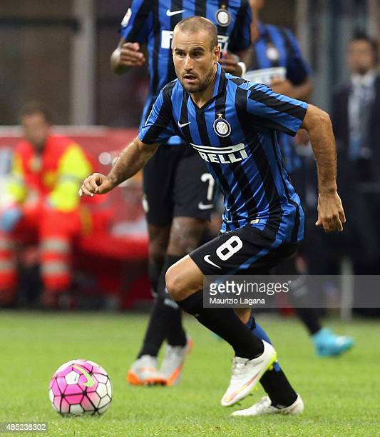 Rodrigo Palacio of Inter during the Serie A match between FC Internazionale Milano and Atalanta BC at Stadio Giuseppe Meazza on August 23 2015 in...